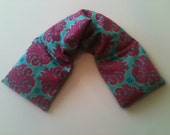 Hot Cold Microwave Wrap/ Unscented Flaxseed -  Turquoise Pink