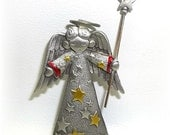 Christmas Angel pin Jonette brooch pewter vintage Xmas jewelry JJ