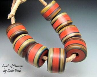 Handmade Glass Lampwork BHB Beads - 8 TerraCotta Tie Dye Barrels