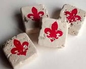 Crimson red Fleur De Lis ivory travertine magnets