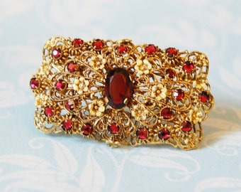 Vintage 1920s Czech Enamel and Rhinestone Brooch Filigree Signed CZECHO Red 1930s