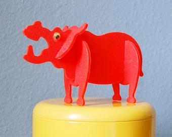 1970s Vintage Child's Mod Plastic Figurine Puzzle Hot Orange Red Hippo or Rhino
