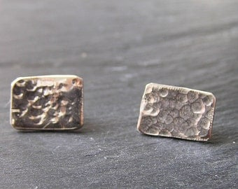 Hammered Solid Silver Earrings - Rectangular