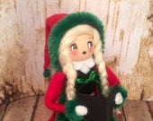Reserved for LP Christmas caroler centerpiece german girl red and green christmas decor ooak art doll vintage retro inspired old world chris