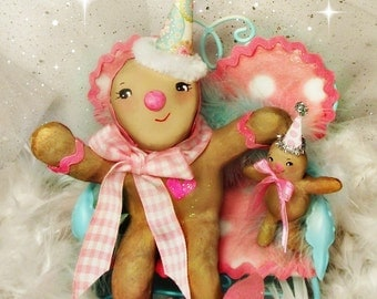 Ginger bread man Christmas decor vintage retro inspired paper clay ooak doll bakery bunny slippers toni Kelly original anthropomorphic