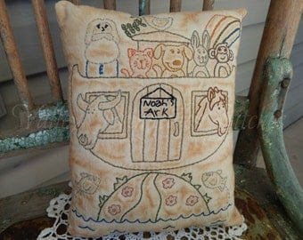 Hand Stitched Decorative Noah's Ark Pillow, Baby's Room, Animals, Christian