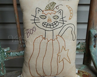 Decorative Halloween Pillow, Hand Stitched Pillow, Black Cat, Pumpkin, BOO
