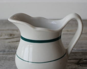 Vintage Ironstone Creamer,  Green and White Striped pitcher
