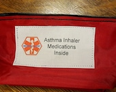 Inhaler bag holds aerochamber / spacer for asthma medical pouch -- options to select from including a medical alert label