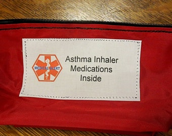 Inhaler bag holds aerochamber / spacer for asthma medical pouch options to select from including a medical alert label color hook dee ring