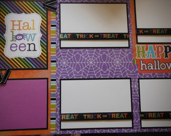 Happy Halloween Premade  12x12 Scrapbook Pages for your FAMILY  Boy GIRL