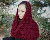 Large Cowl Wrap Warm Big Chunky knit scarf bulky burgundy wine red winter neck warmer country rustic thick women capelet hood hoodie poncho