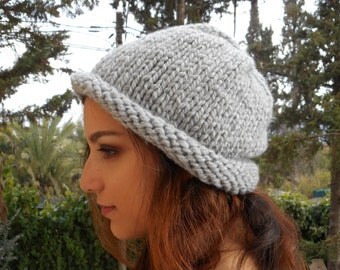 Dolphin grey hat, slouchy beanie cap, slouch beanie, mens slouchy beanie, women, chunky bulky vegan acrylic washable soft unisex winter gray