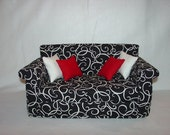 18 Inch Doll Sofa, White Swirls, Black Couch , Roll Arm,  Doll Furniture