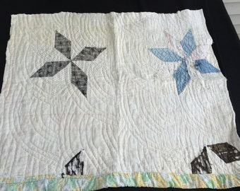 Vintage Hand Quilted Well Loved Star Pattern Cutter Quilt Piece