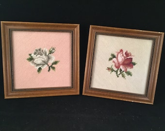 Pair of Vintage Needlepoint Flower Pictures in Square Wood Frames
