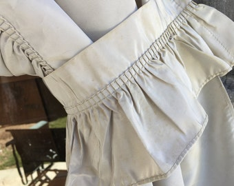 1 Pair (2 Panels) of Vintage Grey Taffeta Curtains with Two Tie Backs and Ruffles