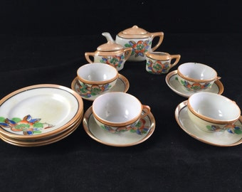 Vintage Japan Lusterware Child's Tea Set Toy China Dishes