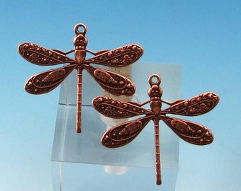 Ornate Dragonfly Charm, Antique Copper 2 Pc. AC183