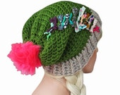 Olive Green Slouch Beanie with Neon Pino Pom and Shabby Textiles - Festival Beanie Hat