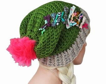 Olive Green Slouch Beanie with Neon Pom Pom and Shabby Textiles Festival Beanie Hat