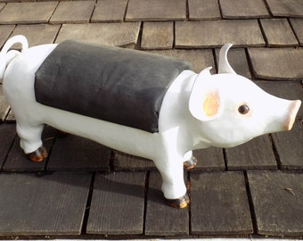 White Pig with black leather back Wooden Footstool