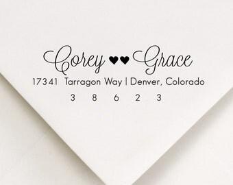 Return Address Stamp -  - soft lines, calligraphy style - Bridal, Wedding gift - Corey Loves Grace Design