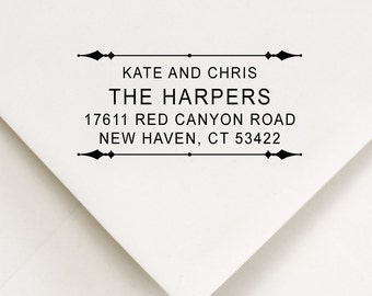 Custom  Address Stamp - Old Style Vintage - Wedding Party Gifts, Appreciation Gift, Housewarming - The Harpers