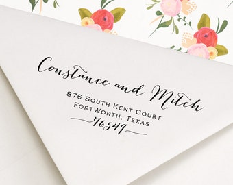 Return Address Stamp - Calligraphy Style Wedding Stamp - With Ornaments - Constance and Mitch