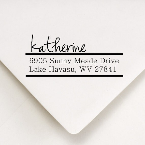 Return Address Stamp In Script Style Font - Katherine Design