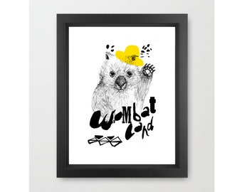 Children's Wall Art, WOMBAT  Little Dada Collection, PRINT 11.69 x 16.54 inches (A3)