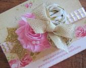 Pink Gold Flower Rosette Tulle Headband on Gold Pink Chevron Elastic