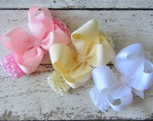 """Hair Bow Trio of 3 Newborn Pastel 4"""" Grosgrain Boutique Bow Headbands Pink White Ivory"""