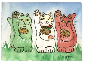 To Health Luck and Protection From Demons Green, White, & Red Neko Lucky Cats  - Choose from ACEO Print, Note Cards, or Art Print