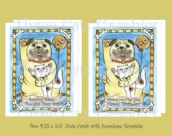 Blue Skies & the Good Fortune Pug - Happy Birthday and Sending Happy Thoughts - 2 Note Cards with Envelope Template - Instant Download