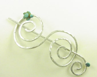 Silver Hair Slide/Barrette/Pin/Clip Double Spiral with Turquoise Turtle