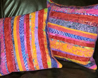 Gypsy Batik Patchwork Quilted Boho Pillow Cover Red Purple Orange Pink 16 inch