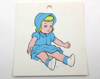Vintage Children's School Flash Card with Picture for Doll in Color