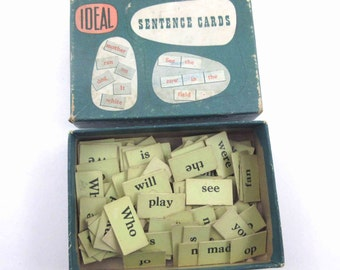 Vintage Sentence Cards by Ideal with Original Box Set of 124