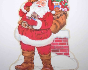 Vintage NOS Christmas Die Cut with Santa Claus Sack Presents and Chimney by Eureka