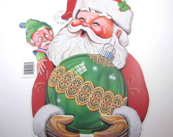Vintage 1980s NOS Christmas Die Cut Santa Claus with Elf and Large Green Ornament by Beistle