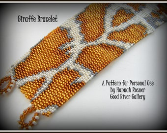 Bead Pattern giraffe peyote stitch or loomwork Beaded Bracelet with toggle clasp tutorial instructions