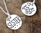Sister Jewelry - Sister Nacklace, Sibling Gift With Hearts Charm