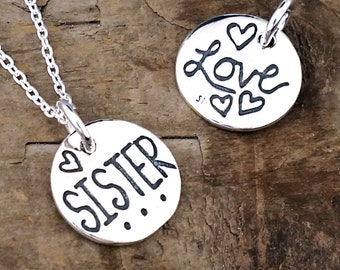 Sister Jewelry - Sister Necklace, Sibling Gift With Hearts Charm