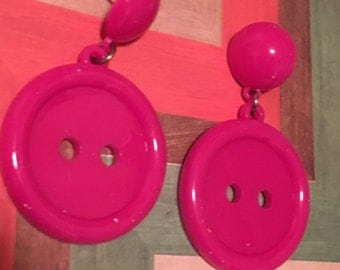 BUTTON VINTAGE remix pink dangle plastic acrylic light weight sewing machine style earrings 80s punk fashion urban renewal stud