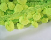 3 to 5 yards Extra Large Pom Pom Trim - Choose your own yards - Number 44 Neon Yellow ( Pom pom size 2.5 cm or 1 inch )