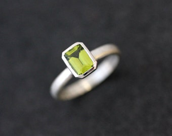 Emerald Cut Octagon Peridot Ring in Sterling Silver, Apple Green Gemstone Ring, Stacking Ring or Solitaire August Birthstone