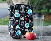 Insulated Lunch Bag Lunch Tote Kitty Day of the Dead Skelekitty Made To Order
