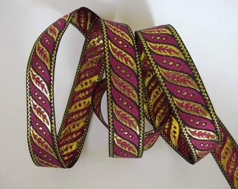 3 yards SLANTED Leaves Jacquard trim in deep wine red, gold on black. 1 inch wide. 187-M