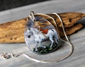 White horse and gypsy in the night -  fused glass pendant